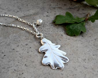 Oak Leave with Small Acorn Necklace (Sterling Silver)