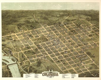 Columbia, SC Panoramic Map dated 1872. This print is a wonderful wall decoration for Den, Office, Man Cave or any wall.