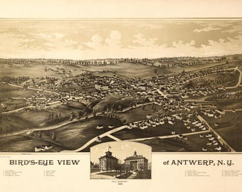 Antwerp NY Panoramic Map dated 1888. This print is a wonderful wall decoration for Den, Office, Man Cave or any wall.