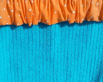 Bright Orange Polka Dot Beach Towel Scrunhie Beach Towel Clip