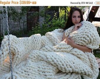 SALE SALE! Chunky Knit blanket, Australian merino, wool blanket, chunky blanket.