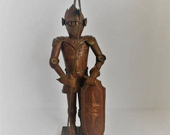 ON SALE copper suit of Armour copper knight Mexican copper medieval statue rustic copper home decor suit of Armor  copper knight with weapon
