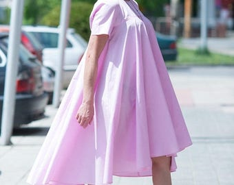 15% SUMMER SALE Summer Cotton Dress, Maxi Dress, Short Sleeve Dress, Long Dress, Party Wear Dresses, Plus Size Loose Dress, Pink Maxi, Women