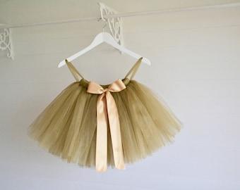 Tutu, girls gold tutu, flower girl tutu, flower girl dress, gold tutu skirt, bridesmaid, baby tutu, tulle skirt, birthday tutu, wedding tutu