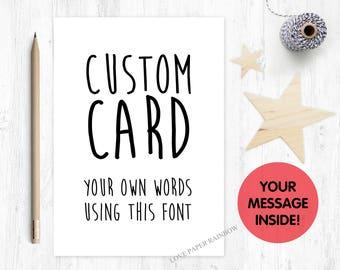 custom card, personalised card, bespoke card, make your own card, funny card, rude card, adult card, naughty card