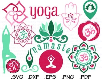 Yoga Svg Files, Namaste Clipart, Meditation Room Svg, Use With Silhouette and Cricut, Svg Instant Download Files, EPS File, DXF File - CA440