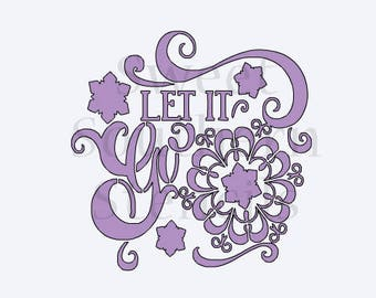 Let it Go Ice Queen Princess Inspired Quote Cookie Stencil