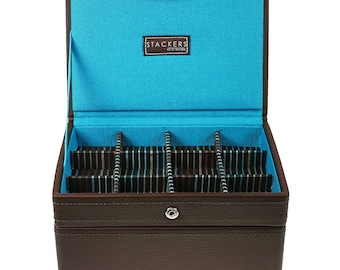 Brown Jewel Watch Storage Box for Cufflink & Watch  Set of 2 Trays - Ideal Gift for Men Women- Father Day's- Birthday  Anniversary