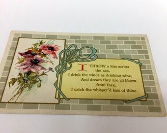 Antique Victorian Postcard Victorian Floral Postcard Unused Antique Postcard