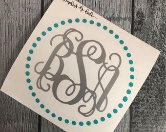 Circle Dot Monogram - Personalized Vinyl Decal - Sticker