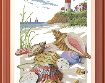 Lighthouse with seashells, Beach, Ocean |  Cross Stitch Pattern | Needlepoint Chart | Instant download