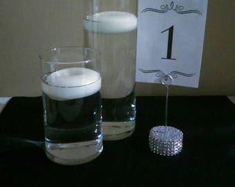 Set of 6 Silver Bling Table Number Holders