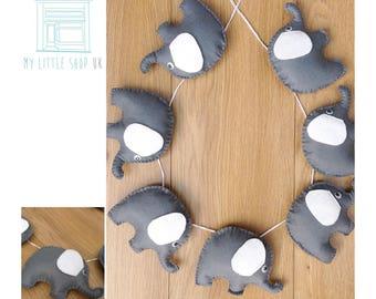 Nursery white and grey elephant felt bunting / garland