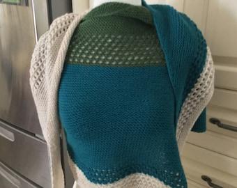 Handmade Knitted shawl made with merino wool