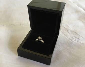 Ring Box, Vintage Black Lacquer Ring Box, Vintage Engagement Ring Box, Vintage Rig Box