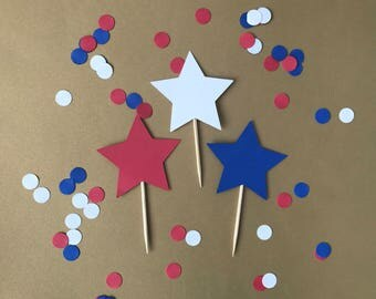 Star Cupcake Toppers | Birthday Party | Star Theme | 4th of July | Memorial Day | Labor Day |