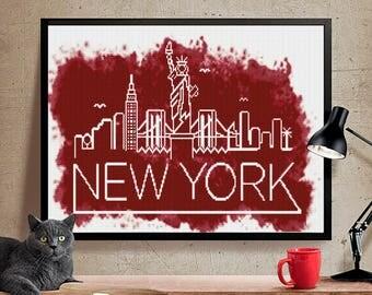 New York cross stitch pattern. Cross stitch modern pattern ,instant download PDF. Patrón punto de cruz Nueva York. Punto de cruz  PDF (#17)