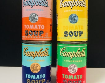 RARE Warhol x Campbell's Soup Collaboration, Complete Set of 4 Cans, Highly Collectible