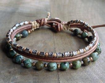African turquoise bohemian bracelet boho chic bracelet boho bracelet womens jewelry boho chic jewelry gift for her rustic bracelet