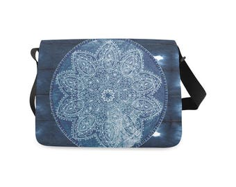 Blue Mandala Messenger Bag Distressed