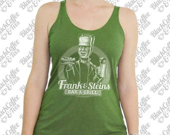 St Patricks Day Shirt -Womens Frankenstein Tank Top -Womens St Pattys Day -Frank and Steins Bar and Grill Hand Screen Printed Green Tank Top
