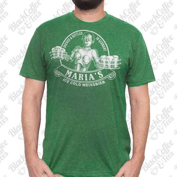 St Patricks Day Shirt -Maria Metropolis Robot Shirt - Beer Shirt  - Men's Craft Beer Shirt - Hand Screen Printed Mens St Pattys Day Shirt
