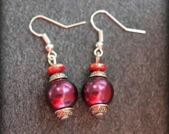 Earrings Tibetan red bordeaux, wedding