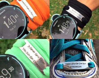 Inspirational motivational engraved tag running bracelet band  shoelace personalized gift
