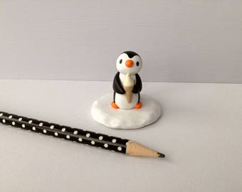 Ice cream penguin, miniature penguin with a vanilla ice cream, cute pottery mini penguin