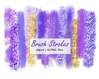 Sale Brush Strokes Clipart Digital Design Gold Glitter Clip art Purple Brush Strokes Watercolor Brush Logo Clipart Scrapbooking