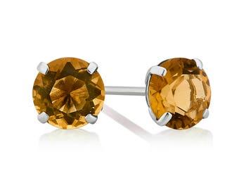 Genuine Citrine Stud Earring in 10K White Gold