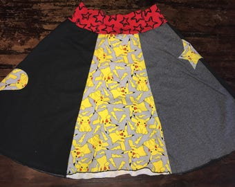 Skirt made from Upcycled T-Shirts - Pokemon Pikachu - One of a Kind