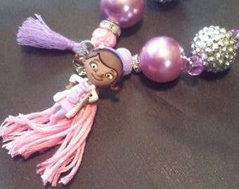 children boutique necklace, doc mcstuffins, pink, purple, charms, birthday gifts, tassle,