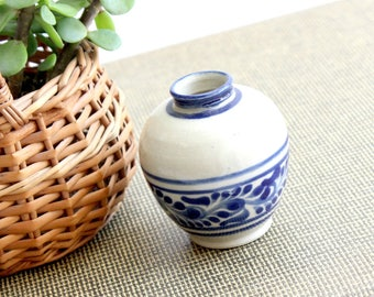 Miniature Blue and White Clay Pot