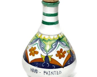 """Olive Oil Jug with Cork """"Il Frantoio di Mastro Donato"""" Hand Painted Italian Pottery, Ceramic Bottle with Cork, Signed by the Artist"""