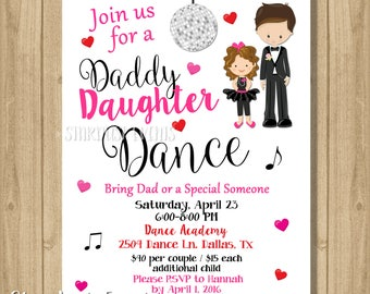 Father Daughter Dance Invitation Party Birthday Daddy