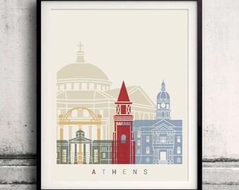 Athens GA  skyline poster - Fine Art Print Landmarks skyline Poster Gift Illustration Artistic Colorful Landmarks - SKU 2613