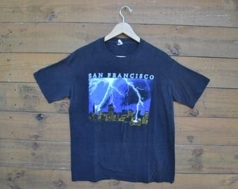 1980's San Francisco, California T-Shirt from Brand Touch of Gold XL 50/50 Thunder Struck City Made in the USA