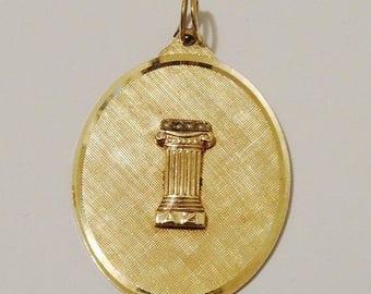 ON SALE 1950's 14k YG Roman Column W/Seed Pearl Textured Medallion F.J.G. Signed Pendant.