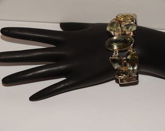 Sterling Silver Prasiolite Stone Bracelet.