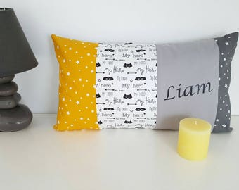 entire pillow name or pillow 30 x 50 cm personalized with name super hero and star yellow and grey patterns