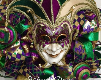 Mardi Gras Wreath Fat Tuesday New Orleans Carnival Wreath Mardi Gras Jester Wreath Home Decor Door Decor *MADE TO ORDER*