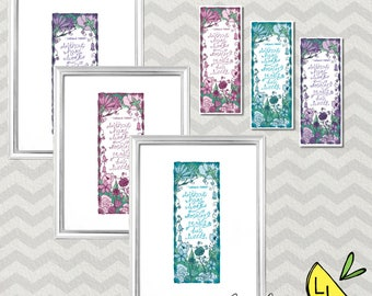 LDS Art, Hard Work Quote, Poster Bundle, Cool Pastels, Printable Art, Hand drawn, Cute Bookmarks, Printable Art Quotes, Garden Quote,