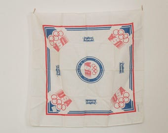 Vintage Levis Olympic USA 1984 Scarf - Neck Head Shoulder Wrap Tapestry Wall Hanging