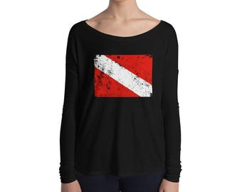 Womens Scuba Diving Vintage Dive Flag Long Sleeve Tee