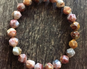 Stackable Mala Inspired Spiritual Junkies Mexican Crazy Lace Agate Nuggets Yoga and Meditation Bracelet (Single Bracelet)