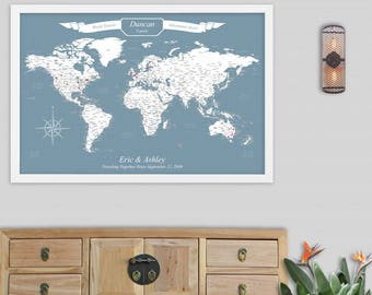 World Traveler Gift Personalized Gifts for Travelers Gifts Unique Push Pin Maps Mounted on Foam Board Comes with Push Pins Custom Text Color