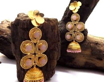 Rose quartz earring,pink beaded earring,long earring,jhumka earring,designer earring,trible earring,ethnic earring