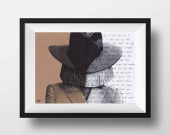 Sia Portrait Drawing with Elastic Heart lyrics - signed Giclée art print A5 A4 A3 sizes pen painting typography artwork