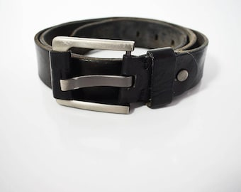 Vintage Mens Leather Belt Black